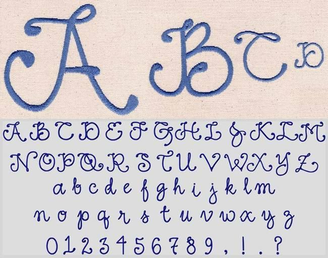 """178 Fancy Satin SatinFill Font, Jolson's Designs, 1"""" & 2"""" in Satin Stitch -- 3"""" & 4"""" in SatinFill. Uppercase, lowercase, numbers and 4 punctuations."""