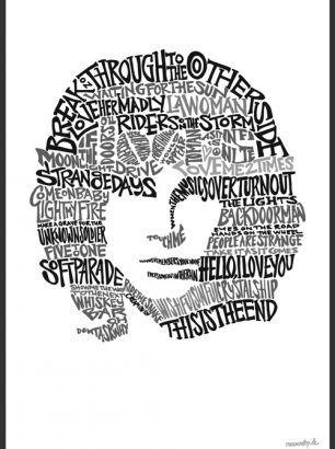 """Jim Morrison"" - Størrelse: 70cm x 100cm / A3"