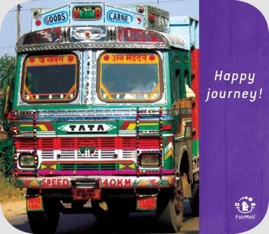 Happy Journey | @FairMail - Fair Trade Cards - S340-E | Good Trip, Car, India, Moving, Streetlife, Transport, Travel