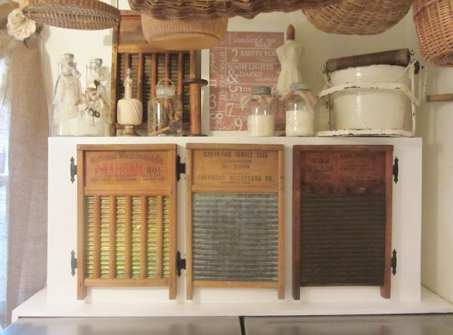 This cabinet is adorable with washboard doors ! (from Junk Chic Cottage)