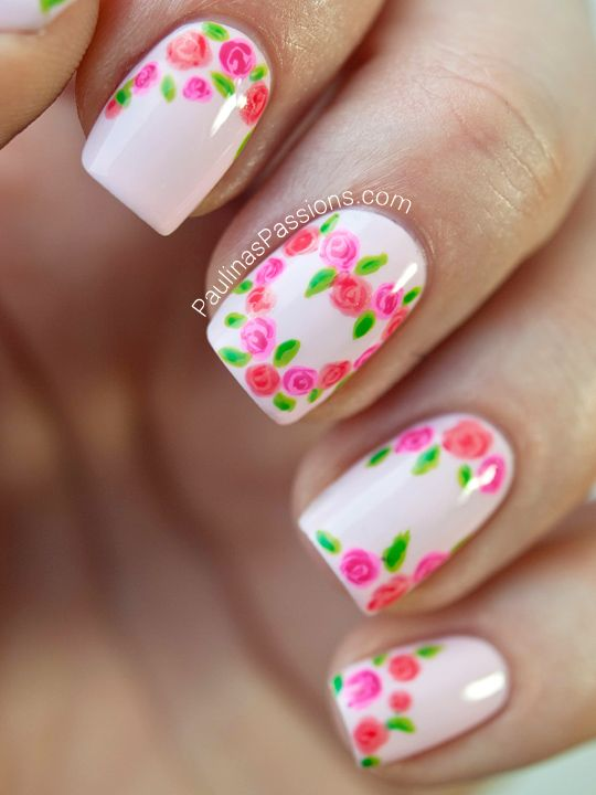 Show your love for all things floral with this gorgeous manicure, complete with a rose heart. Use varying flower patterns from nail to nail for a fresh effect. See the tutorial at Paula's Passions. - GoodHousekeeping.com