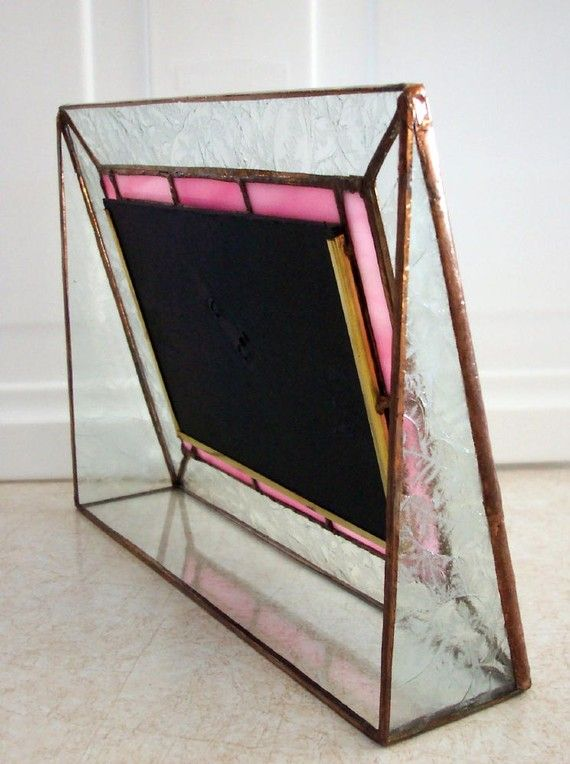 Stained Glass Picture Frame Pink Border by mnflash on Etsy