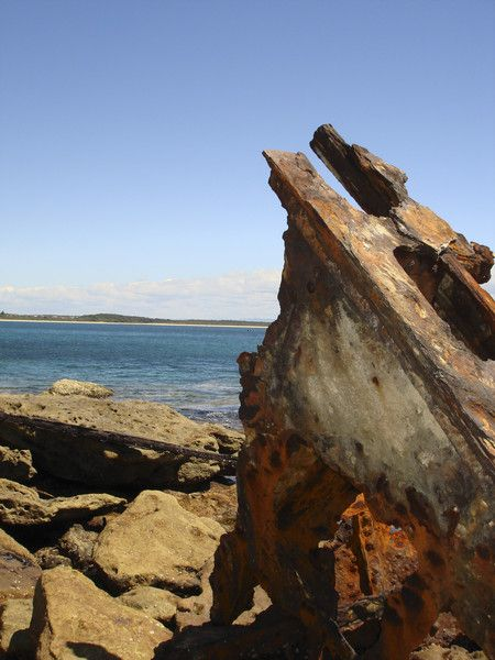 Rusting wreckage of the S.S. Merimbula on Whale Point in Abrahams Bosom Reserve, Currarong. Ran aground 25-3-1928. Most of the wreck is under water. #throwbackthursday See http://goo.gl/tCNpsx for more on the Merimbula and its demise.