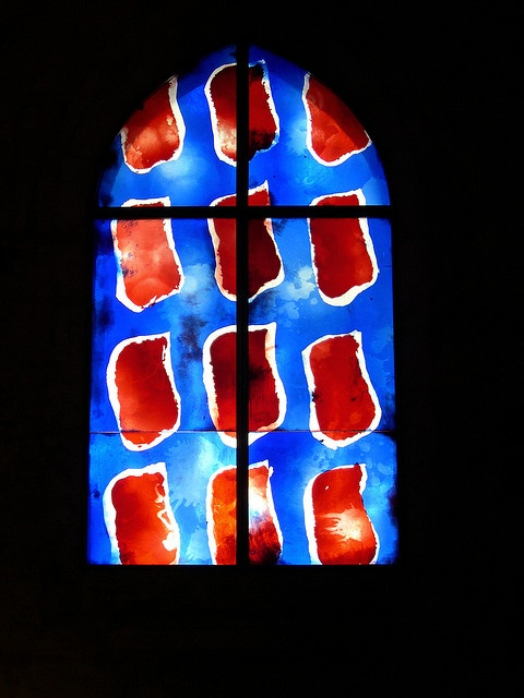 Church windows in Aigues Mortes, France