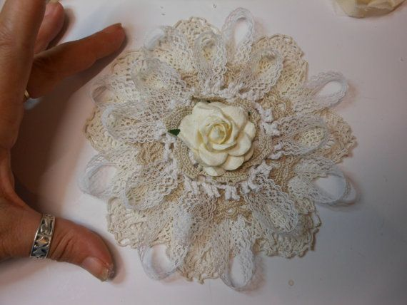 Gorgeous Handmade Large Vintage Doily Flower by jennings644