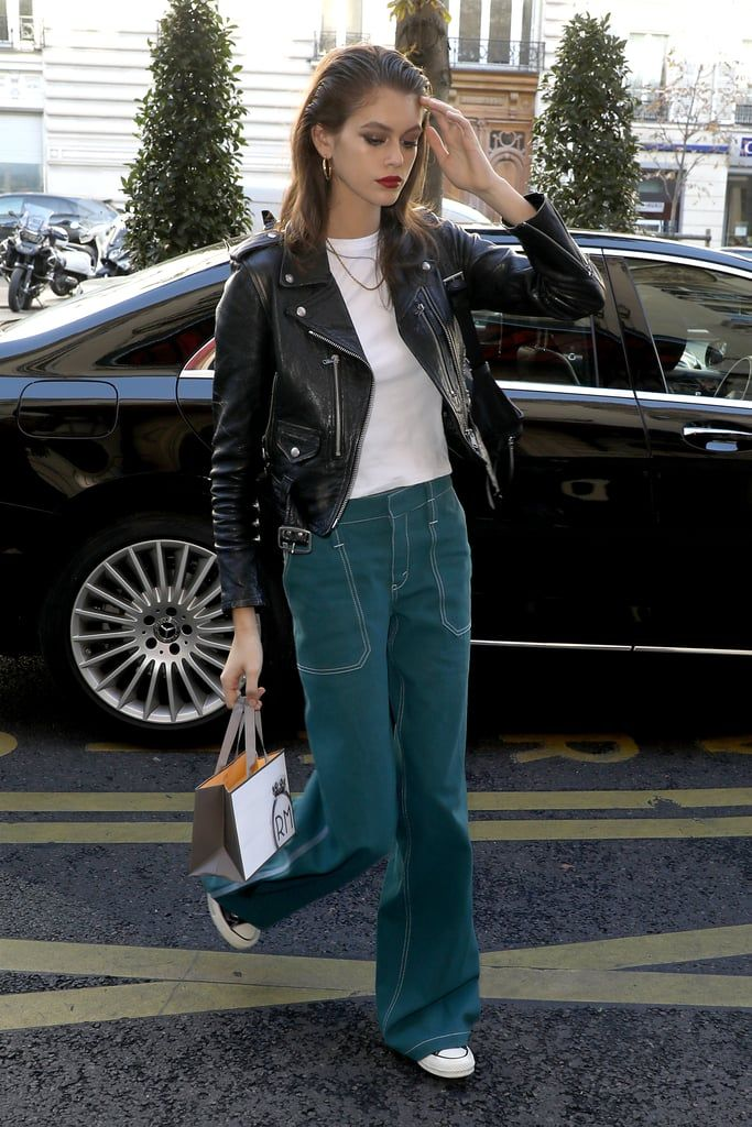 Kaia Gerber Rocked a Black Leather Jacket With Green Jeans