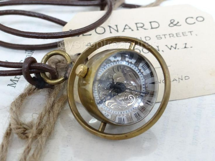 Brass Fob Pocket WATCH Leather Necklace Glass ORB Pendant Mechanical Skeleton
