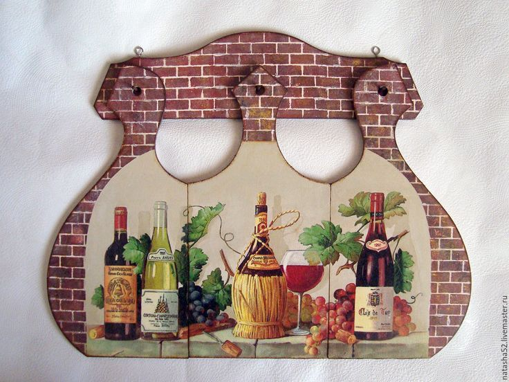 """Купить """"Натюрморт с бутылками"""" Триптих - комбинированный, доска разделочная, набор досок, кухонный интерьер, кухня"""