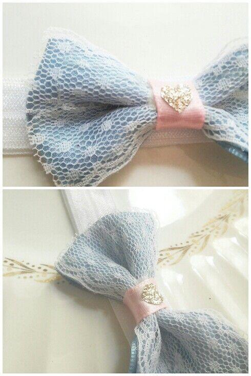 Powder Blue Lace Baby Headband @TheBerkeleyBowCo