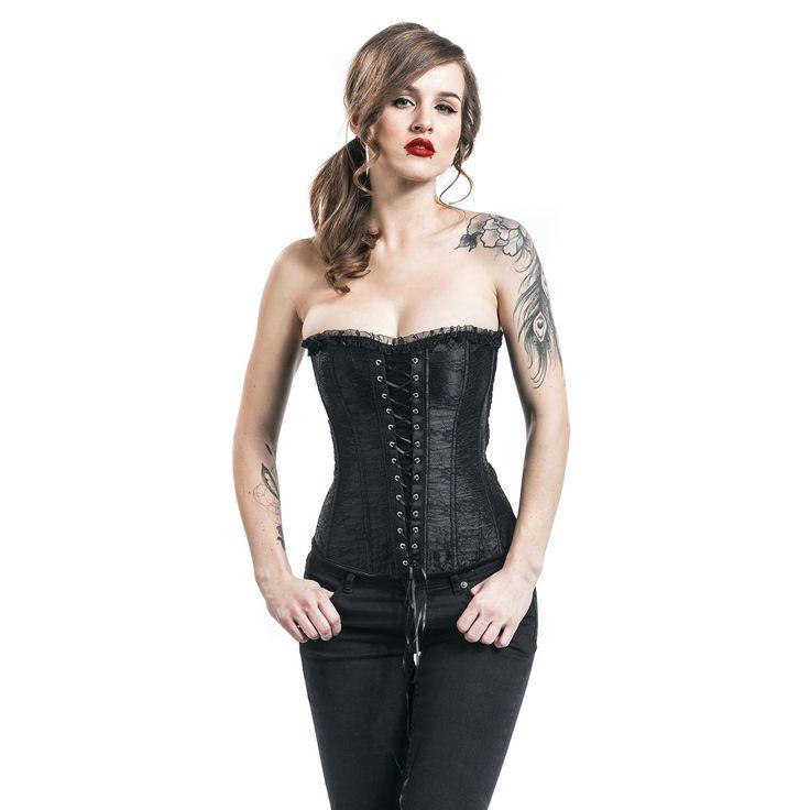 """Corsetto donna """"Black Lace Corset"""" del brand #Alcatraz."""
