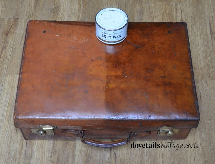 Amazing transformation on this old leather suitcase using Annie Sloan Dark Wax! - who'd of guessed, but it works a treat! #dovetails