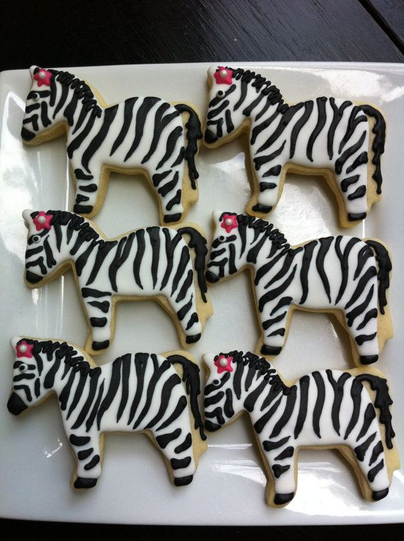 Zebra Animals Zoo Animal Zebra Print 1 dozen decorated cookies $36.99 The Talented Cookie