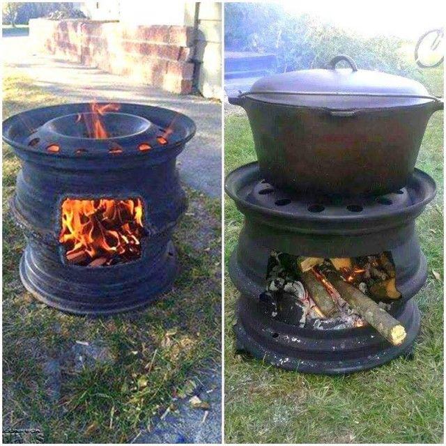 Une jante, une grille et hop! un barbecue!