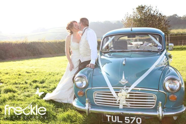 Turquoise Morris Minor Wedding Car