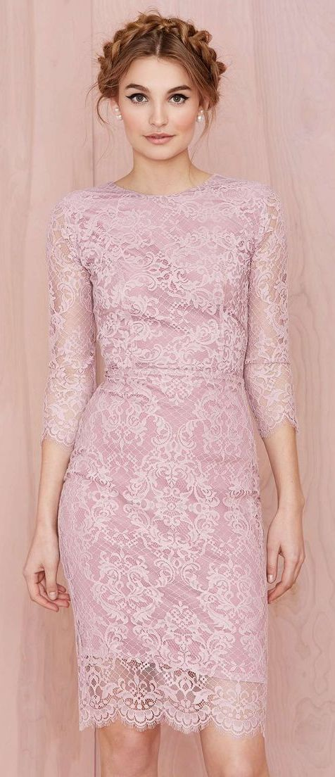 Feminine Pink Lace Dress and Braided Crown