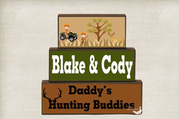 Daddy's Hunting Buddies Wood Blocks Stack, Hunting Buddy, Fathers Day Gift, Hunting Family Home Decor, Dad's Birthday Gift