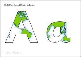 world map themed display lettering sb10941 sparklebox