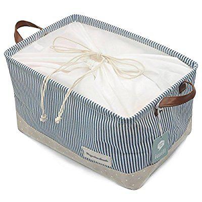 Organizzare Cesti per Abbigliamento bagagli - cestini di stoccaggio in cotone ecologico. Lavora come tessuto cassetto, bambino bagagli, giocattolo bagagli. Cesti vivaio di alta qualità misura più ripiani, Blu marino