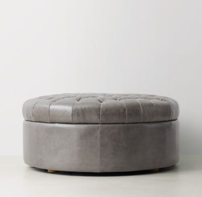 RH TEEN's Tufted Large Round Leather Storage Ottoman:Recalling sumptuous  19th-century French poufs - 25+ Best Ideas About Round Storage Ottoman On Pinterest Ottoman