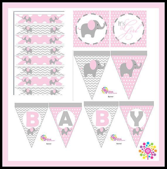Kit imprimible para Baby Shower Elefante Niña por IdeasGlint