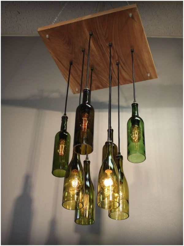 Lustres com garrafas de vidro