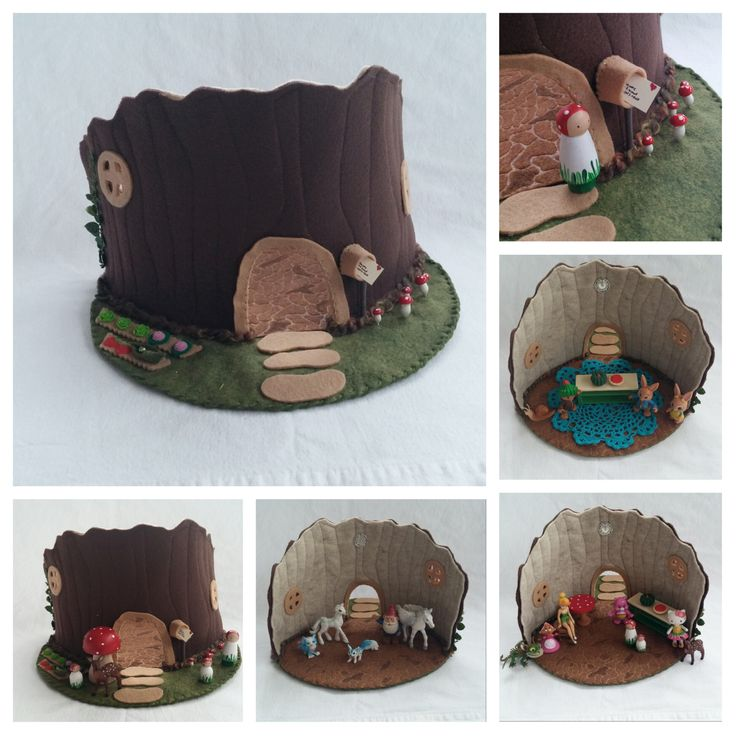 Tree Stump House Playscape play mat felt pretend storybook open-ended storytelling fantasy fairytale fairy woodland gnome dollhouse mushroom by MyBigWorld2015 on Etsy