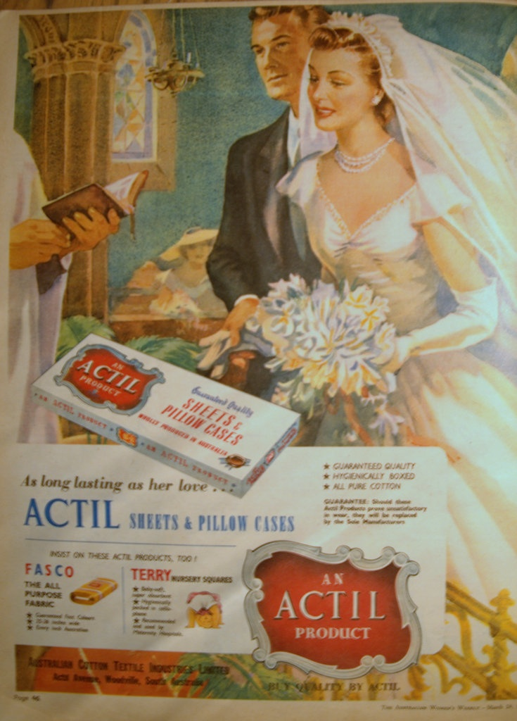 Vintage 1954 Actill, sheets  pillowcases advert ('Australian Women's weekly' magazine)