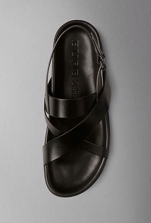 Black Leather Cross Strap Sandal, by Burberry. Men's Spring Summer Fashion.