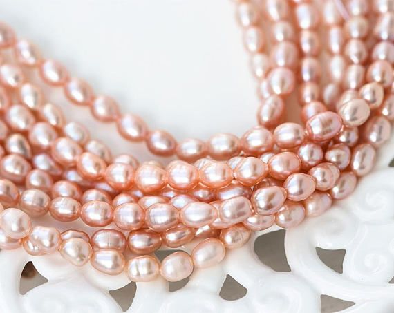 2604_ Rice pink pearls 7x5 mm Peach pearls Natural pearls