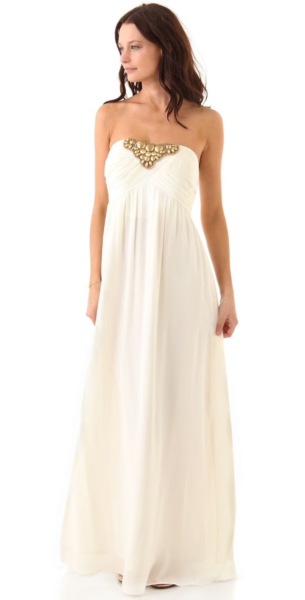 Beaded Tori Strapless Gown by jenifer