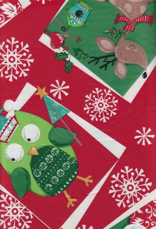 Christmas Tablecloth Vinyl Flannel Back Owl Reindeer Santa Snowflake Red  Round