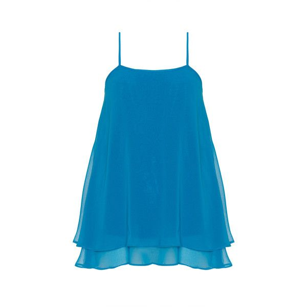 Manon Baptiste Blue Plus Size Layered thin strap chiffon top ($105) ❤ liked on Polyvore featuring tops, blue, plus size, loose fitting tops, spaghetti strap top, womens plus tops, layered tops e chiffon top