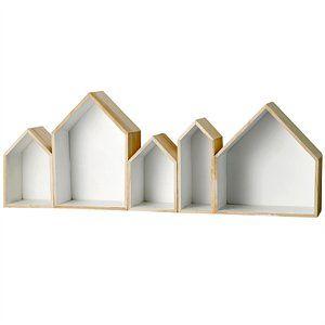 Sættekasse i træ - Huse. Hvid indeni.