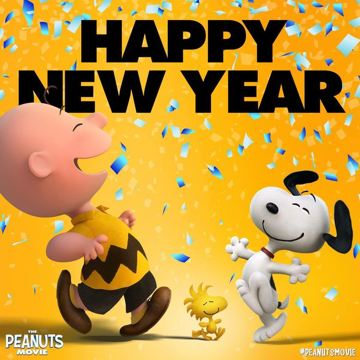 Happy New Year. Charlie Brown and Snoopy.
