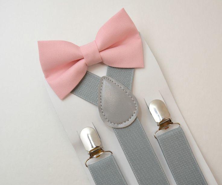 Kids Boys Mens Light Gray Suspenders Blush Pink BOW TIE SET 6MON Adult   eBay