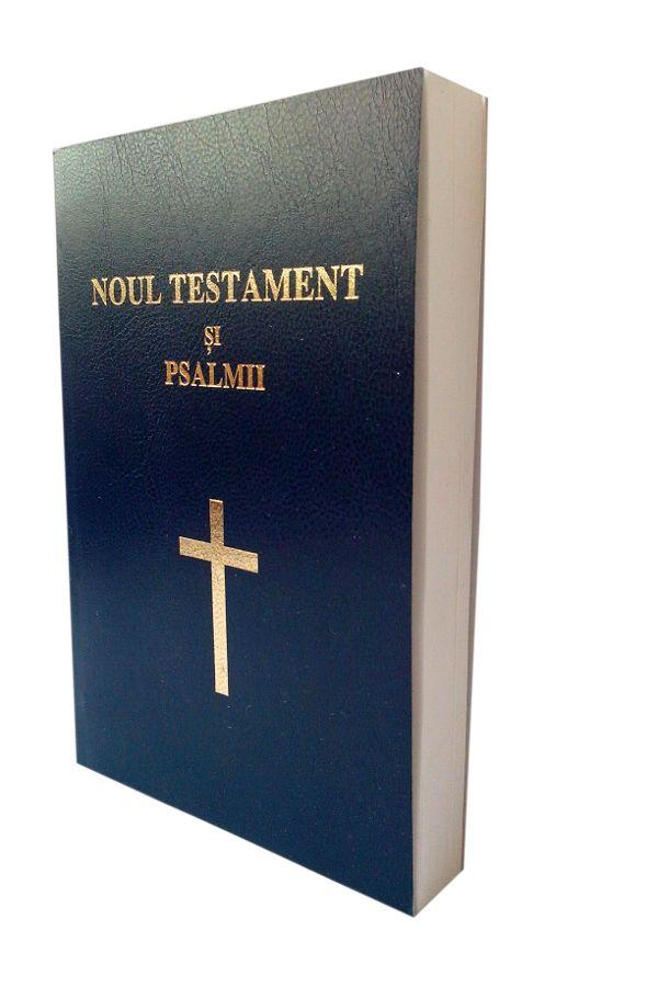 Noul Testament si Psalmii, coperta flexibila, albastra, scris mare, cuv. lui Isus cu rosu
