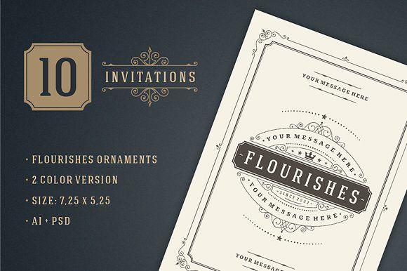 10 Vintage invitations volume 1 by Vasya Kobelev on @creativemarket