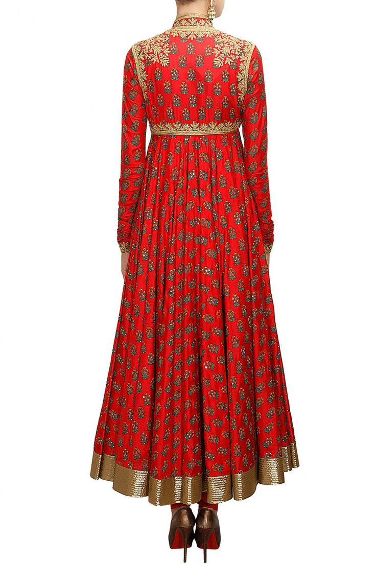 Rohit Bal - Red block printed angrakha style anarkali set available only at Pernia's Pop-Up Shop.