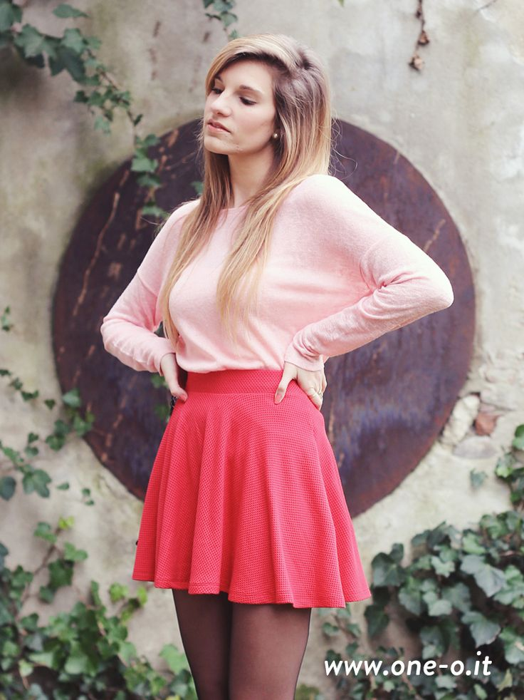 Shop this look on Lookastic:  http://lookastic.com/women/looks/pink-crew-neck-sweater-red-skater-skirt/8147  — Pink Crew-neck Sweater  — Red Skater Skirt