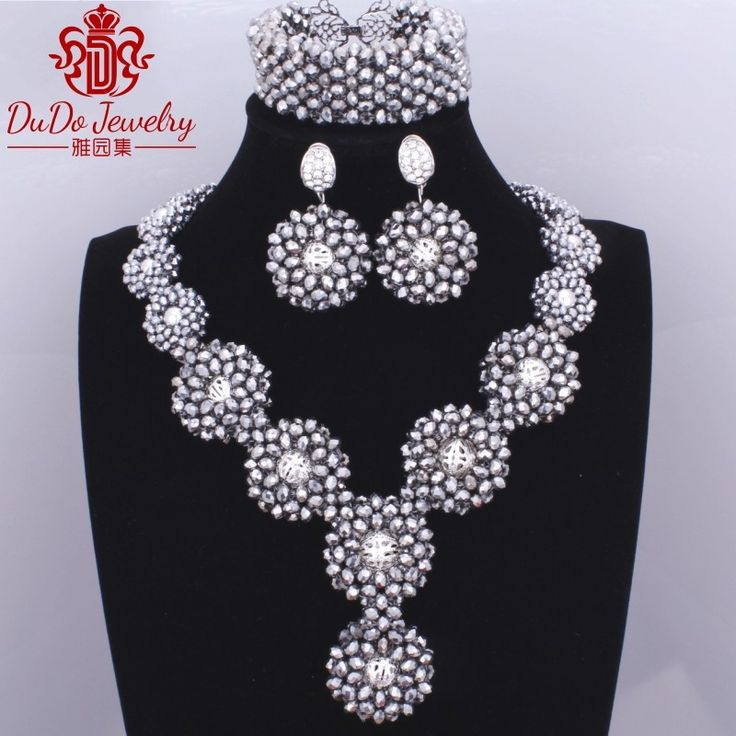 Trendy Silver Antique Arabic jewelry set Fashion Brand African Nigerian Bride Wedding Necklace Designs Costume Set of Beads