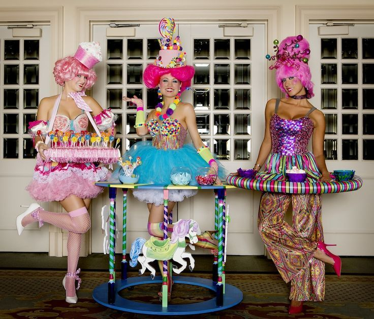 candy girls. circular trays and whole table outfits:
