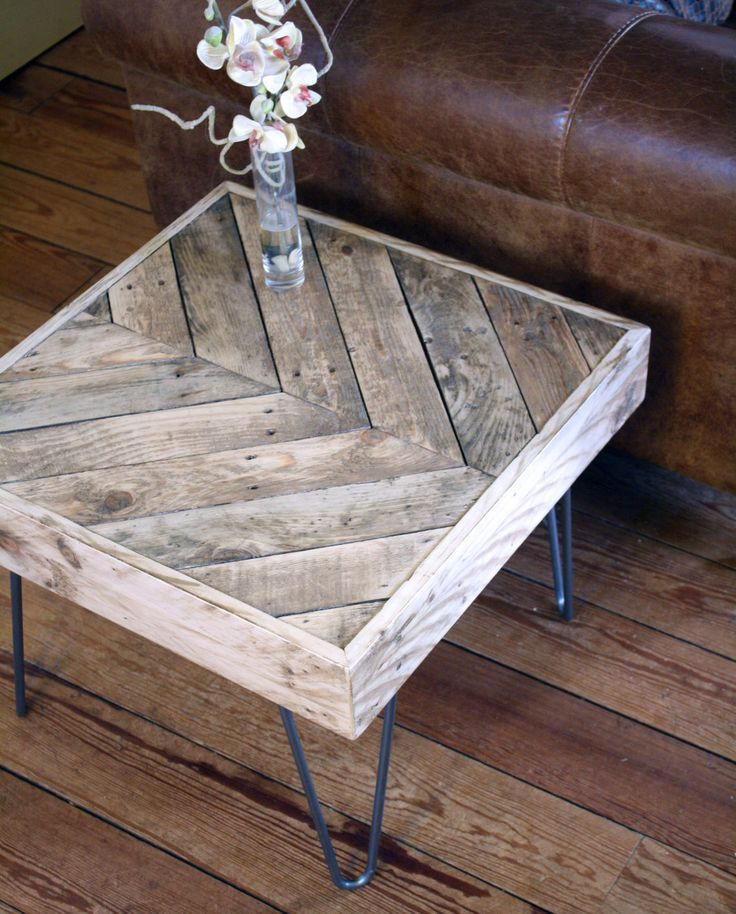 Revive Joinery - Reclaimed Wood Pallet Side / Coffee Table With Hairpin Legs