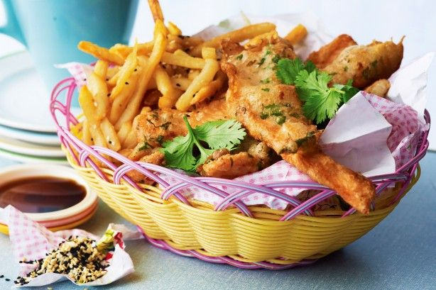 Asian-style fish and sesame-salt chips