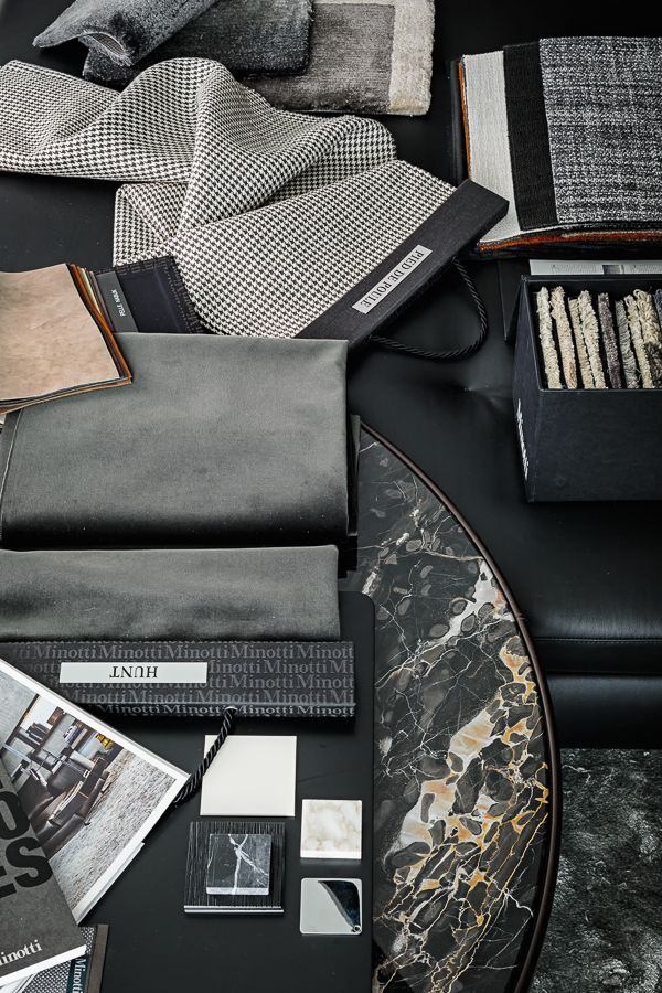 Materials by Lorenzo Pennati, via Behance, grey and black mood board, interior design