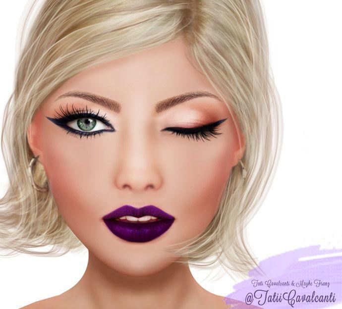 5 maquiagens com batom roxo