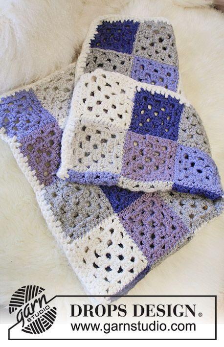 Baby Squares / DROPS Baby 31-20 - Manta a ganchillo con cuadrados ...