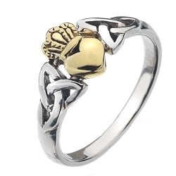 Silver & Bronze fancy Claddagh Ring