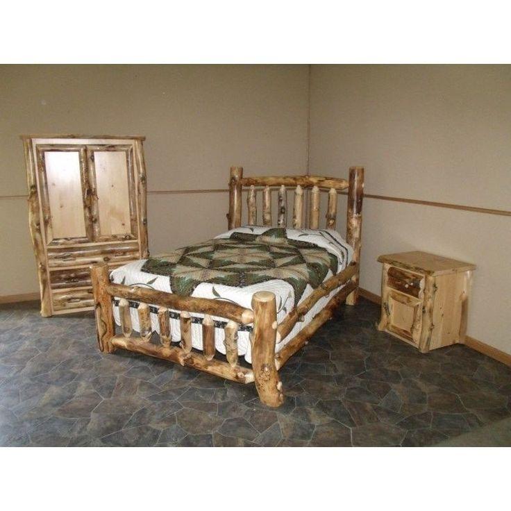 Rustic Aspen Log Complete Bedroom SET: Includes Bed, Armoire U0026 Nightstand  (King), Tan