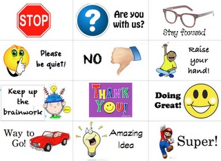 Behavior Cards. Put them on the students desks while they are working. Quiet classroom management.