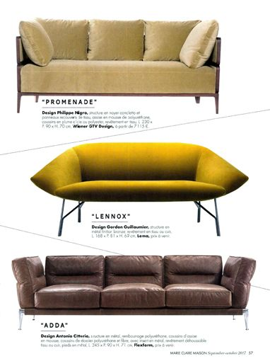Press Review | LEMA | Marie Claire Maison - France | Lennox Sofa by Gordon Guillaumier